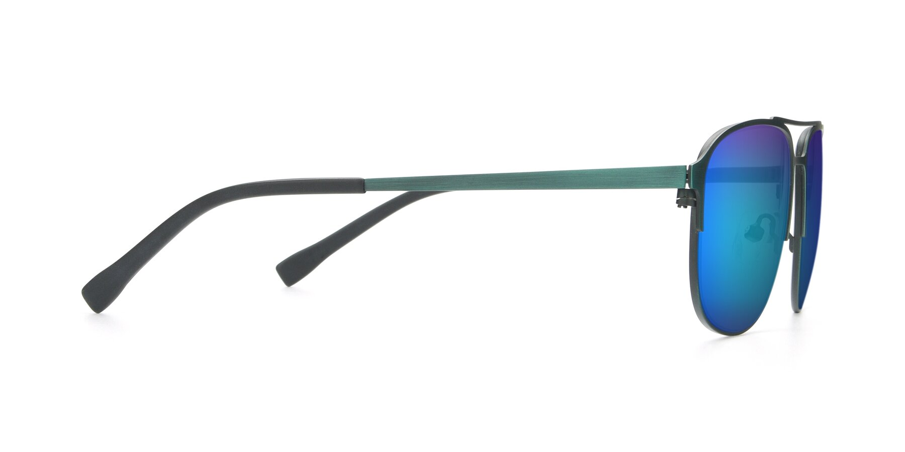 Side of 9513 in Antique Green with Blue Mirrored Lenses