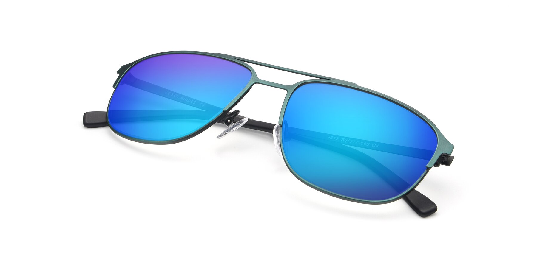 View of 9513 in Antique Green with Blue Mirrored Lenses