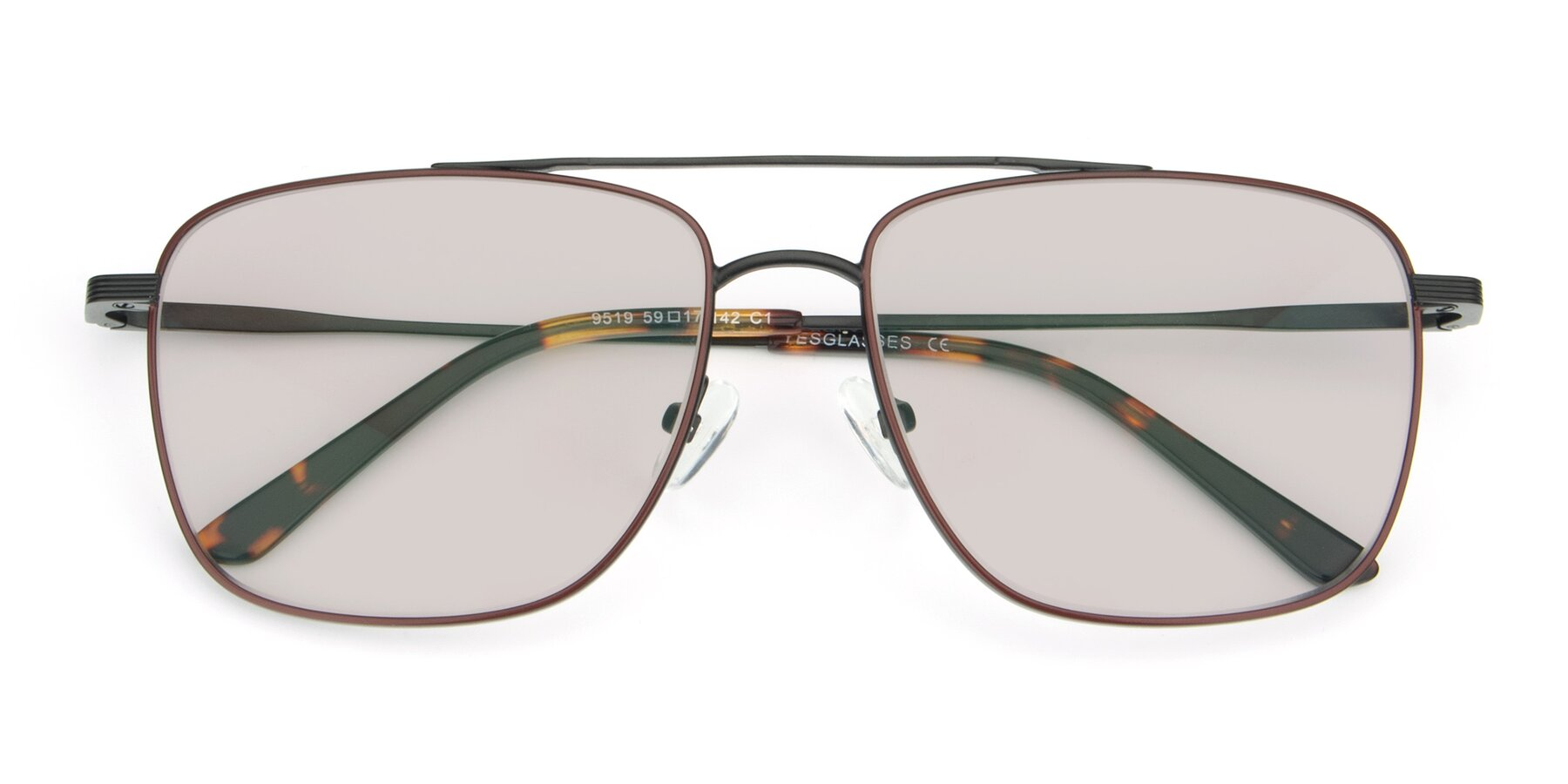 Folded Front of 9519 in Burgendy-Black with Light Brown Tinted Lenses
