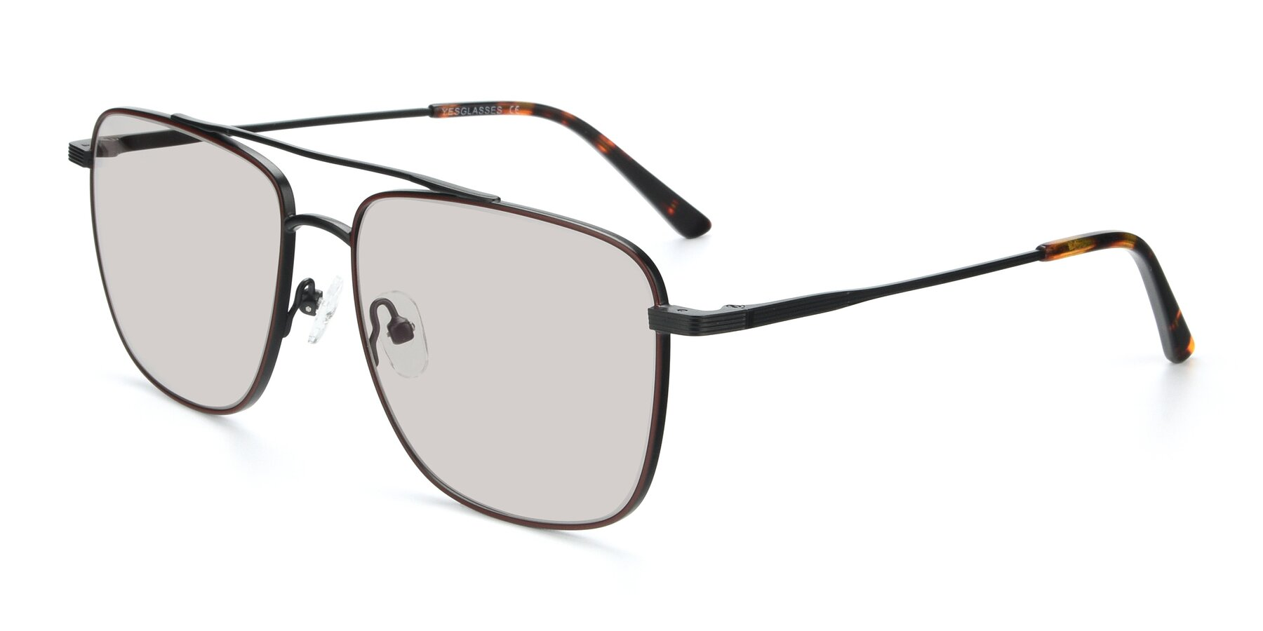 Angle of 9519 in Burgendy-Black with Light Brown Tinted Lenses