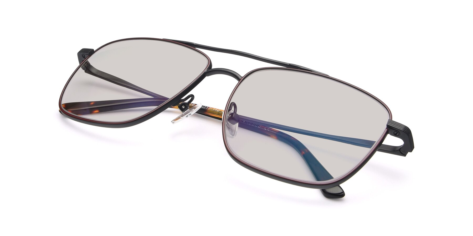 View of 9519 in Burgendy-Black with Light Brown Tinted Lenses