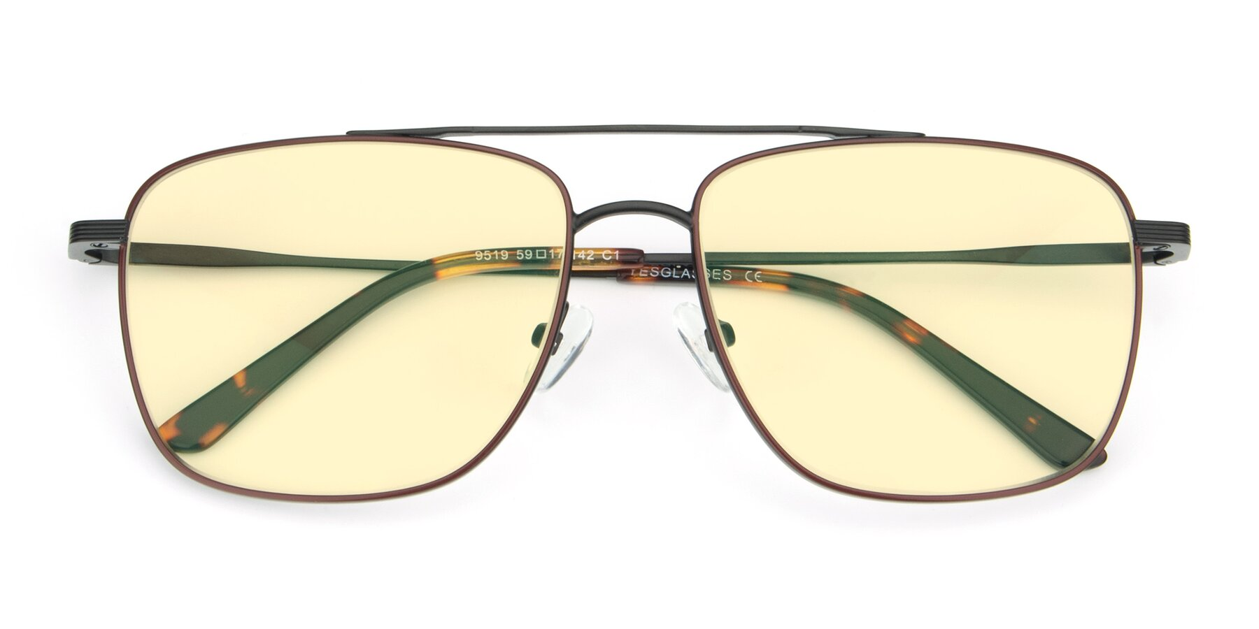 Folded Front of 9519 in Burgendy-Black with Light Yellow Tinted Lenses