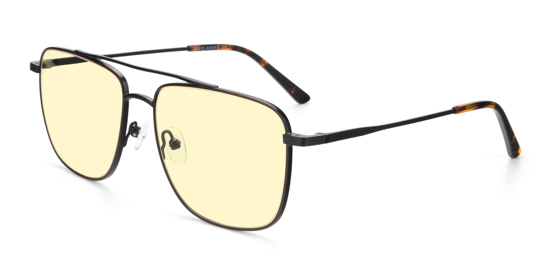 Angle of 9519 in Burgendy-Black with Light Yellow Tinted Lenses