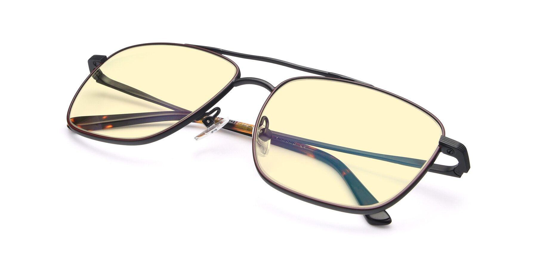 View of 9519 in Burgendy-Black with Light Yellow Tinted Lenses