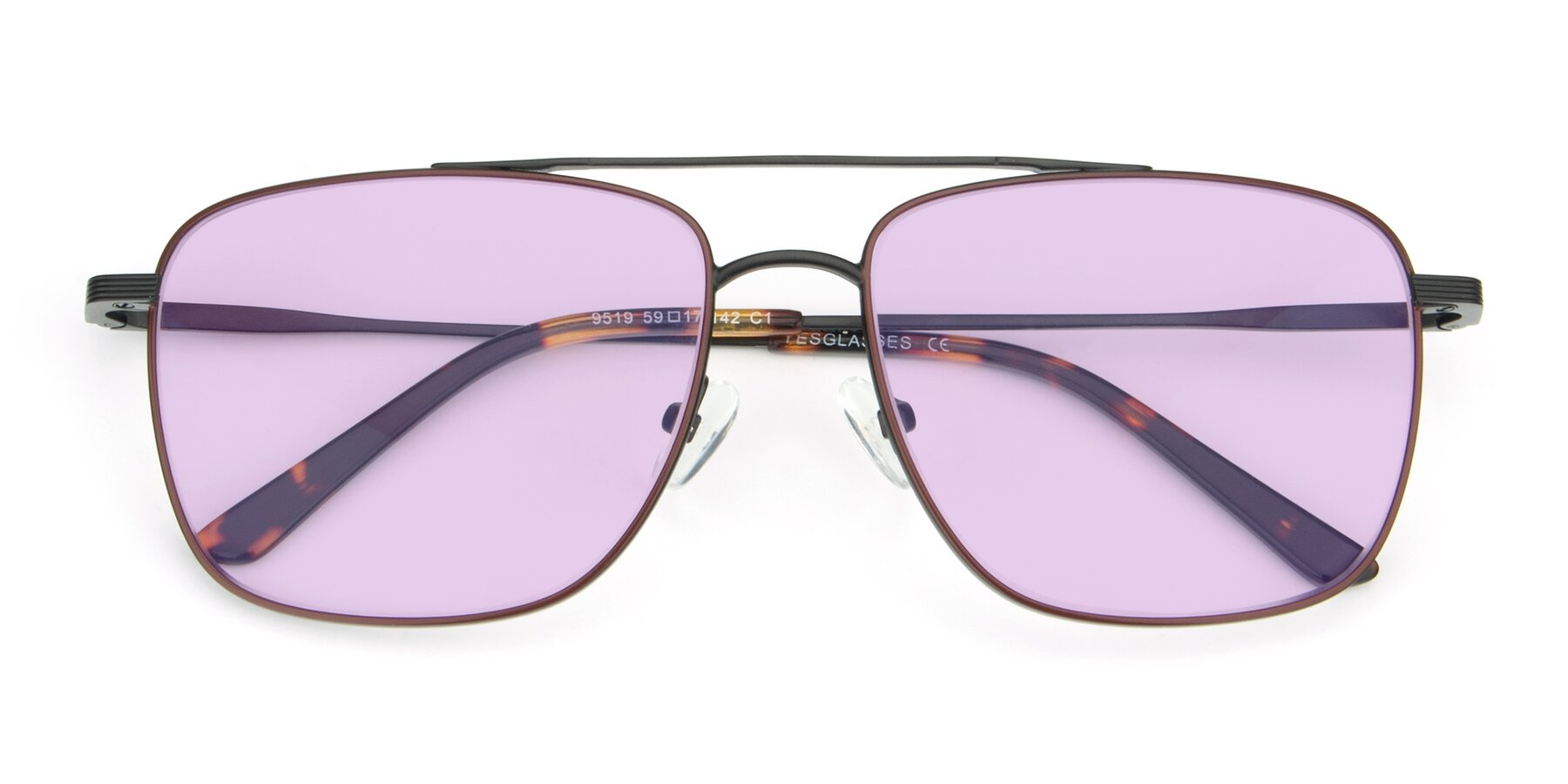 Folded Front of 9519 in Burgendy-Black with Light Purple Tinted Lenses