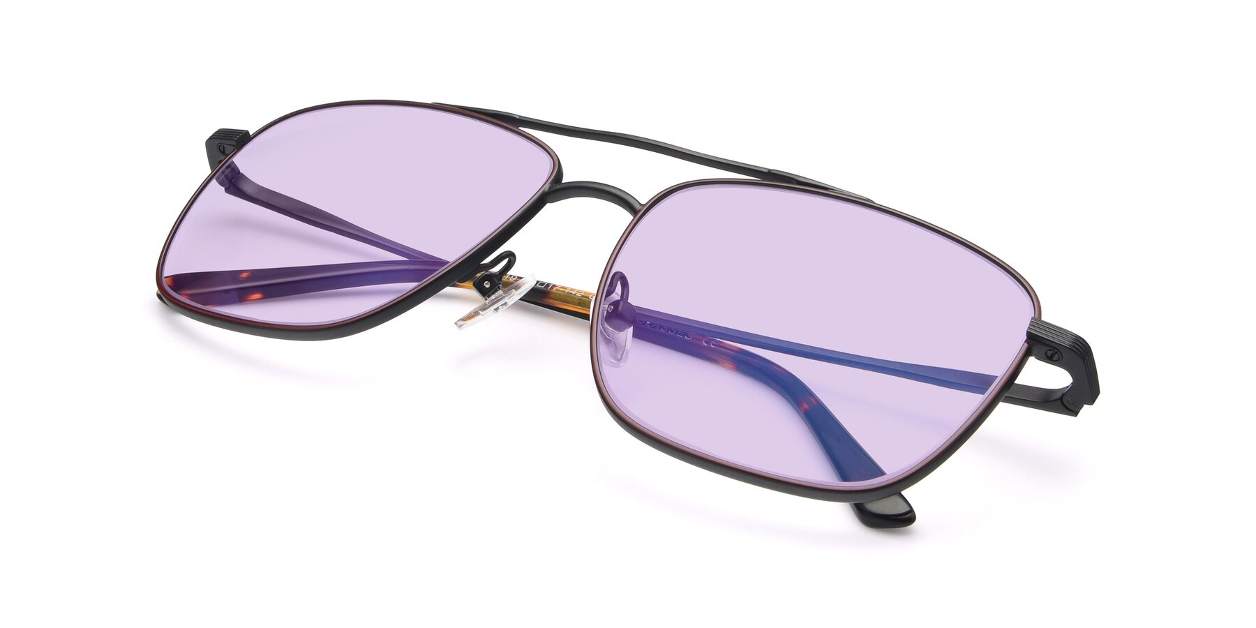 View of 9519 in Burgendy-Black with Light Purple Tinted Lenses