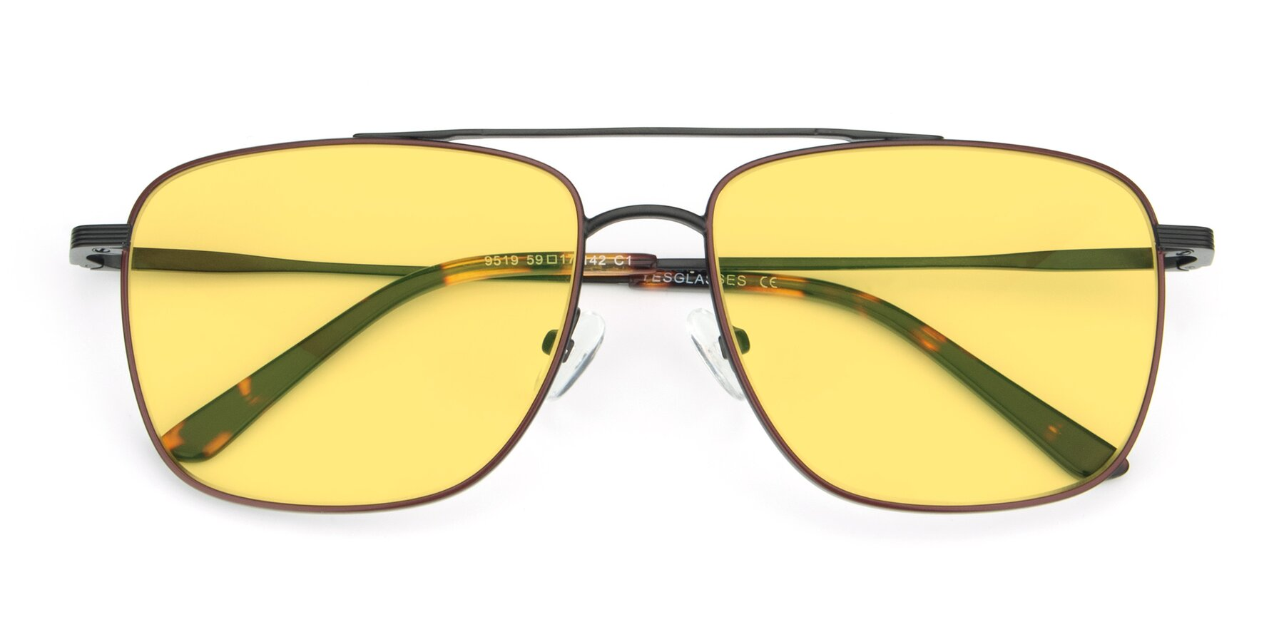 Folded Front of 9519 in Burgendy-Black with Medium Yellow Tinted Lenses