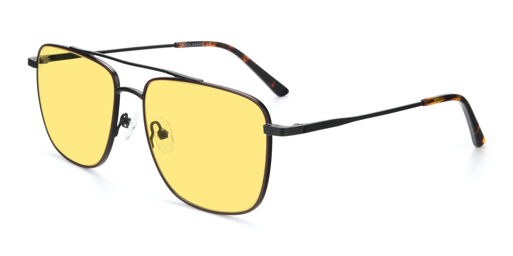 Angle of 9519 in Burgendy-Black with Medium Yellow Tinted Lenses