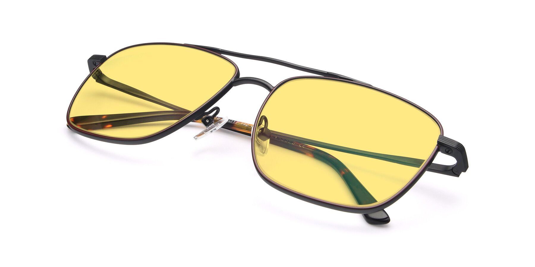 View of 9519 in Burgendy-Black with Medium Yellow Tinted Lenses