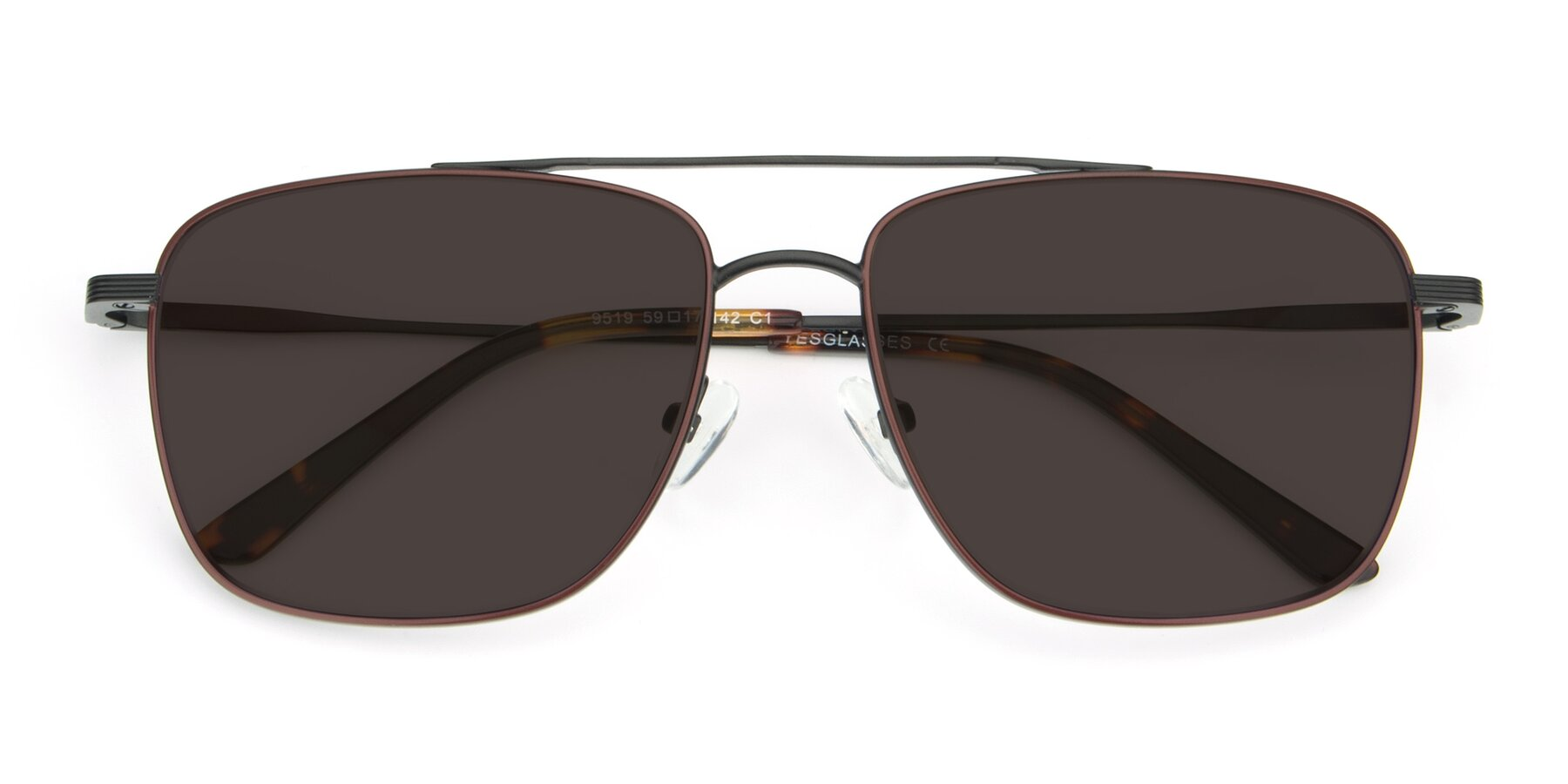 Folded Front of 9519 in Burgendy-Black with Gray Tinted Lenses