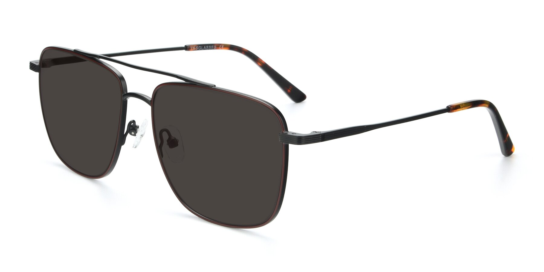 Angle of 9519 in Burgendy-Black with Gray Tinted Lenses