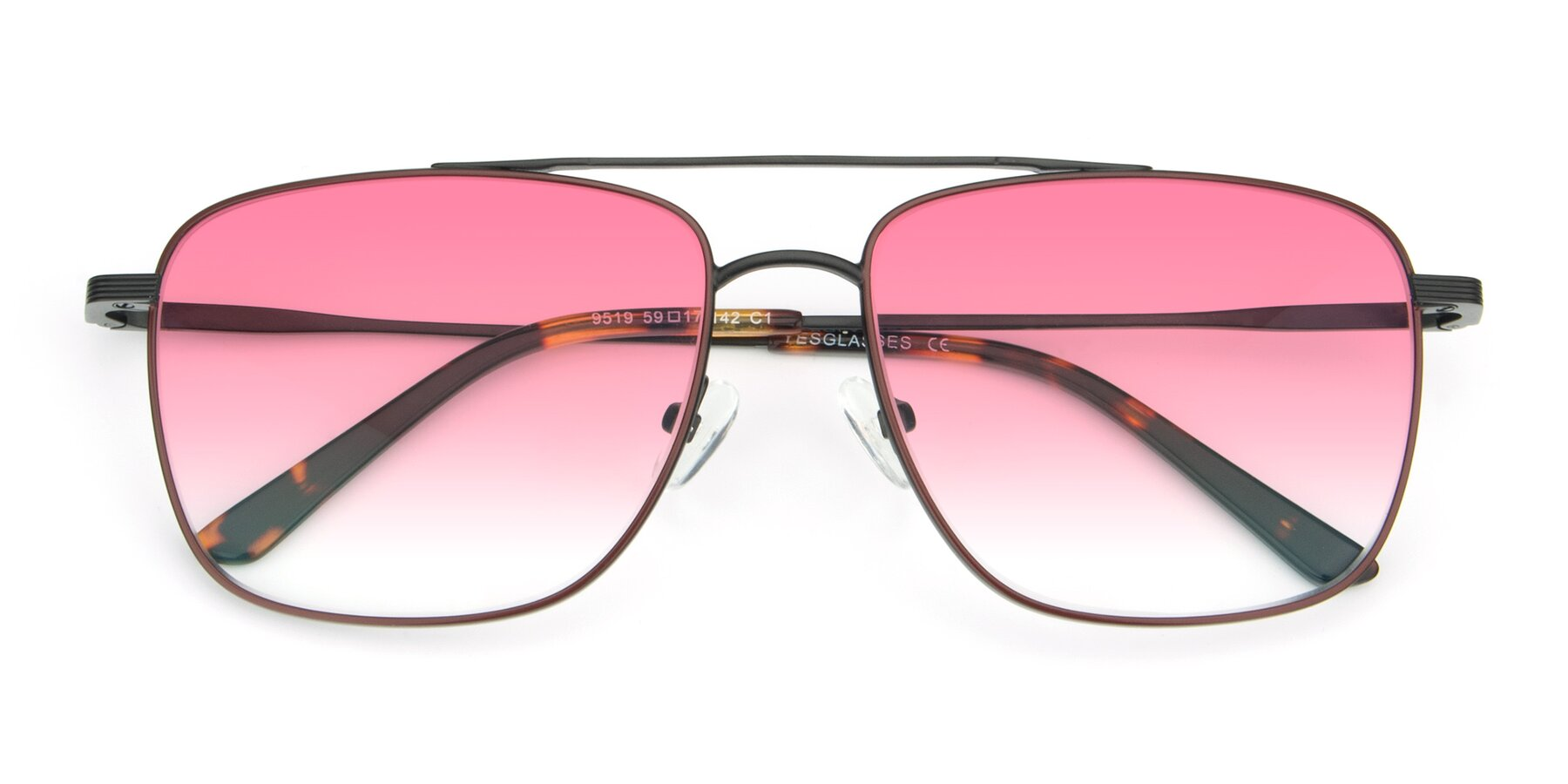 Folded Front of 9519 in Burgendy-Black with Pink Gradient Lenses