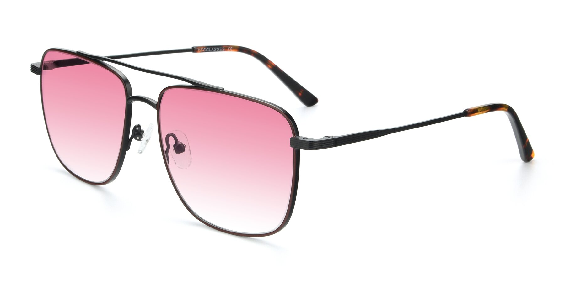 Angle of 9519 in Burgendy-Black with Pink Gradient Lenses