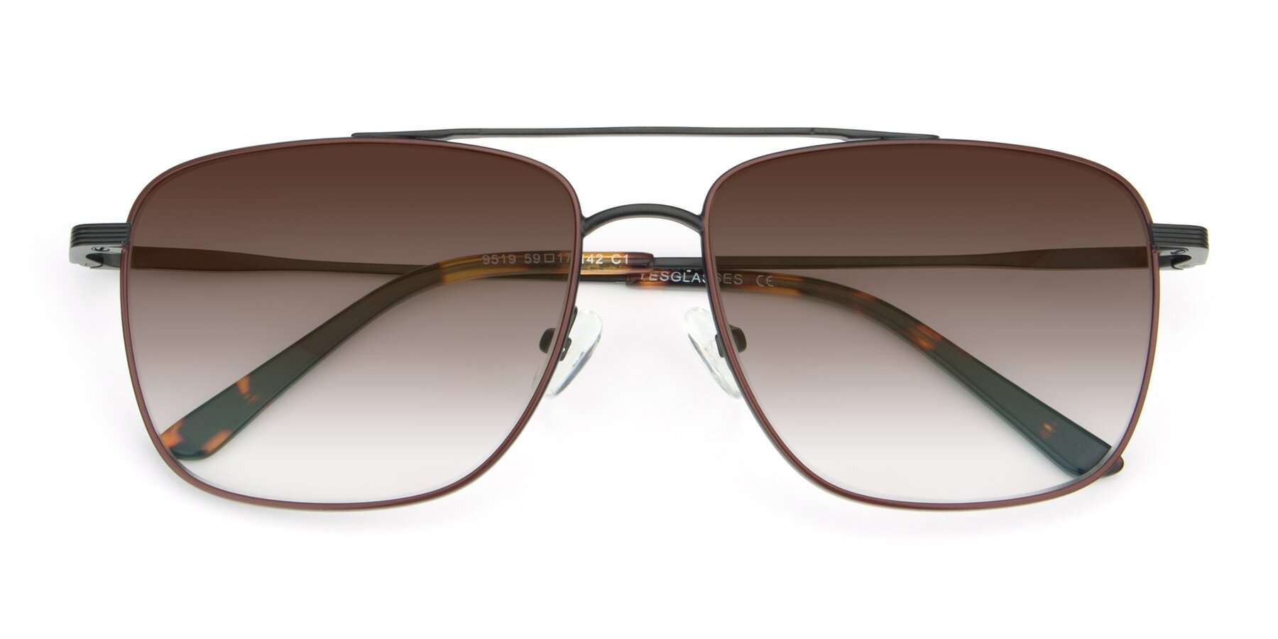 Folded Front of 9519 in Burgendy-Black with Brown Gradient Lenses