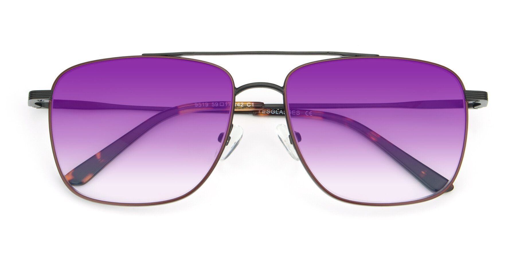 Folded Front of 9519 in Burgendy-Black with Purple Gradient Lenses