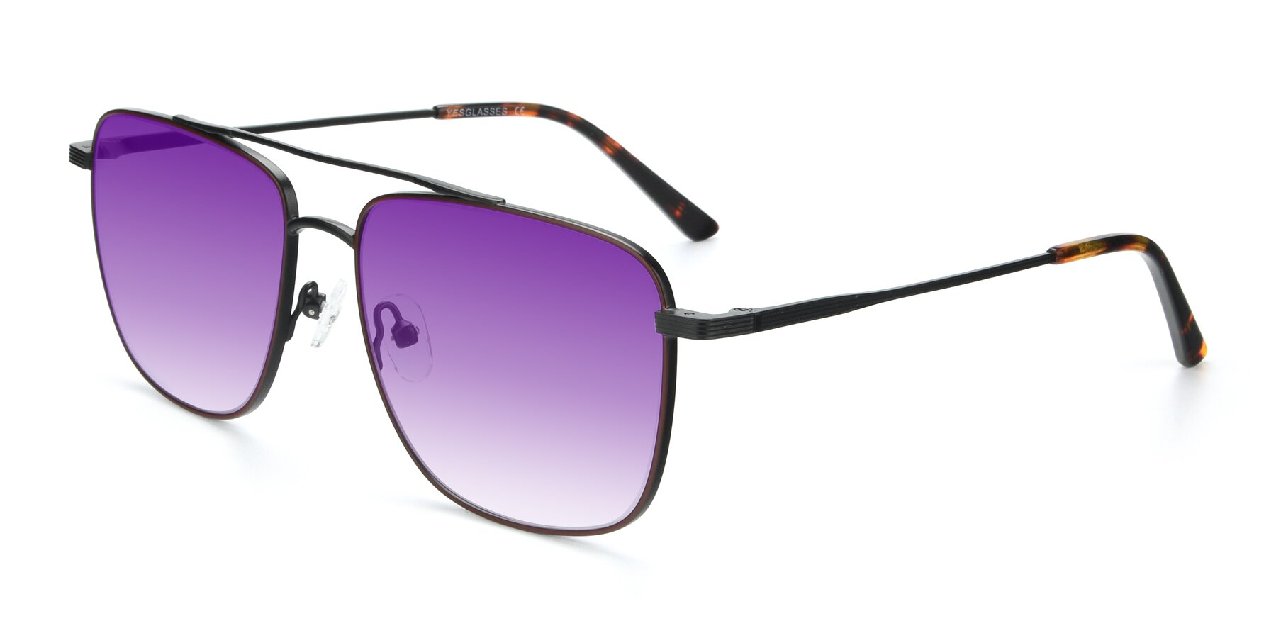Angle of 9519 in Burgendy-Black with Purple Gradient Lenses