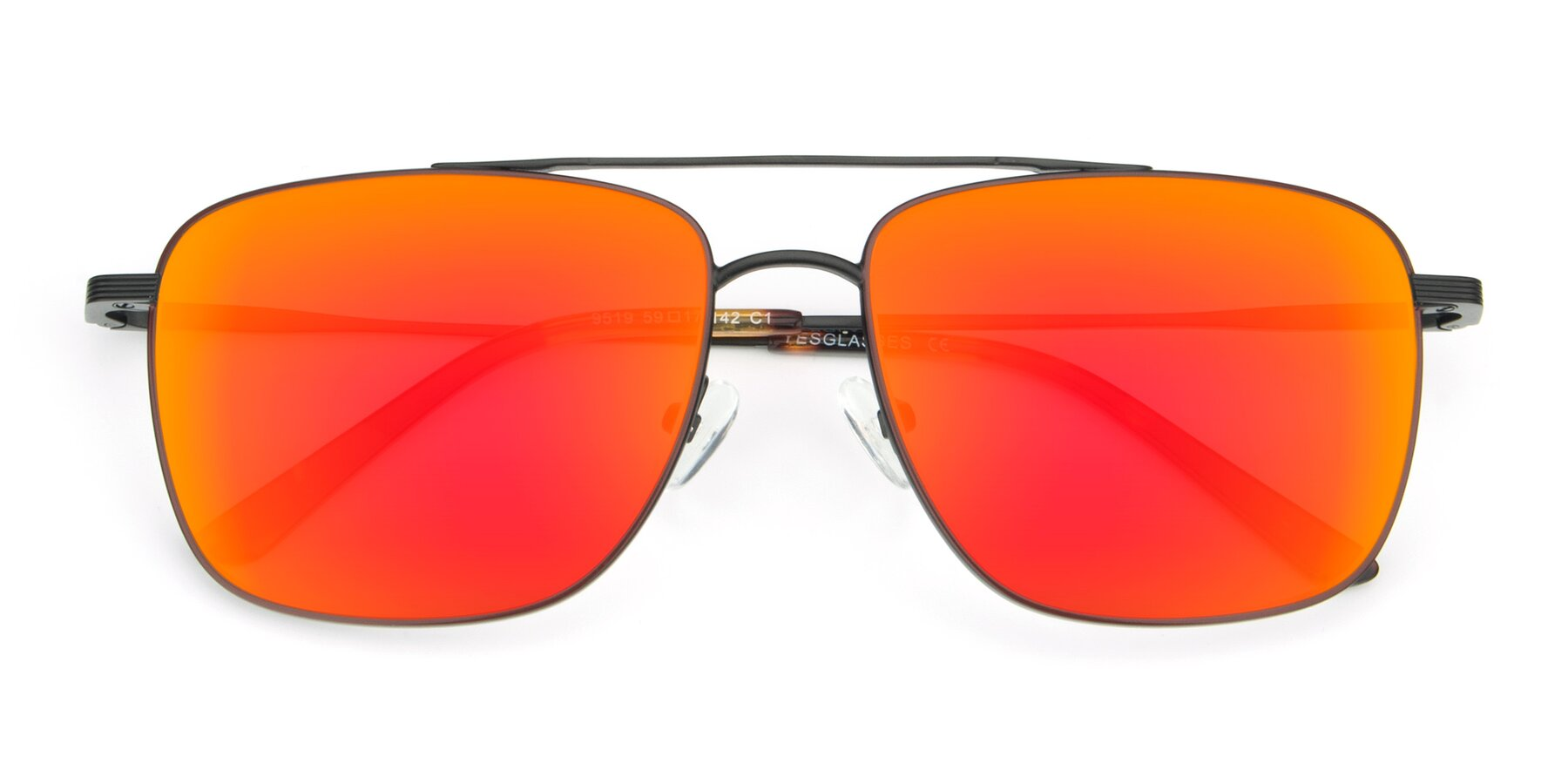 Folded Front of 9519 in Burgendy-Black with Red Gold Mirrored Lenses