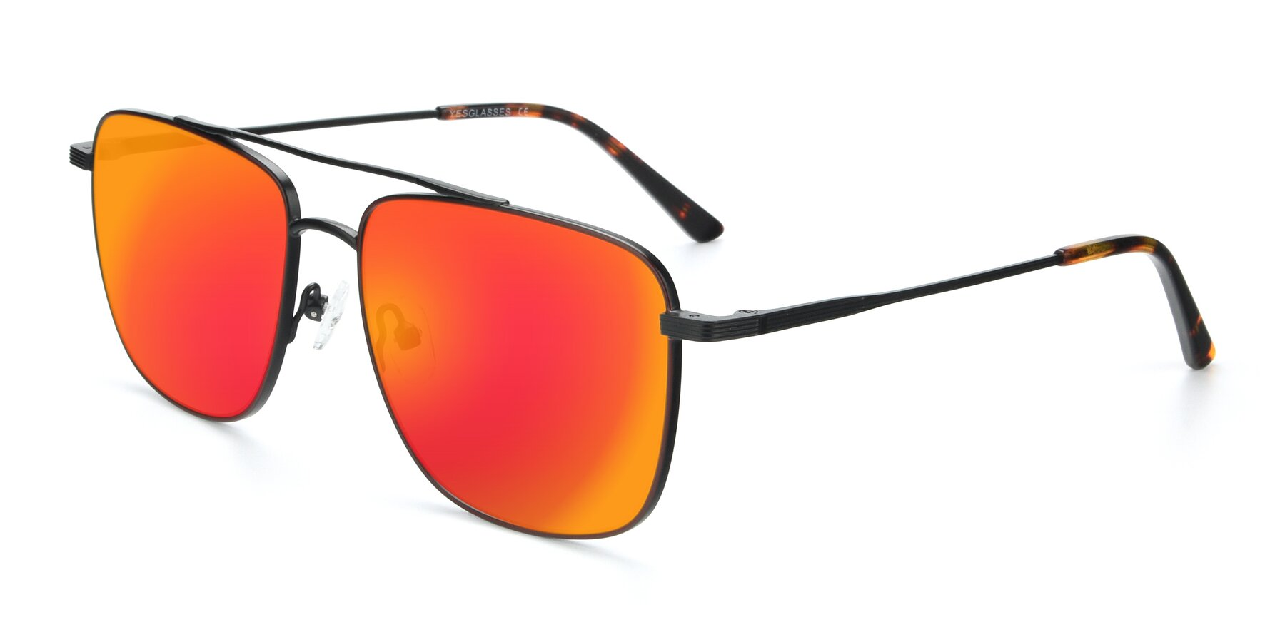 Angle of 9519 in Burgendy-Black with Red Gold Mirrored Lenses