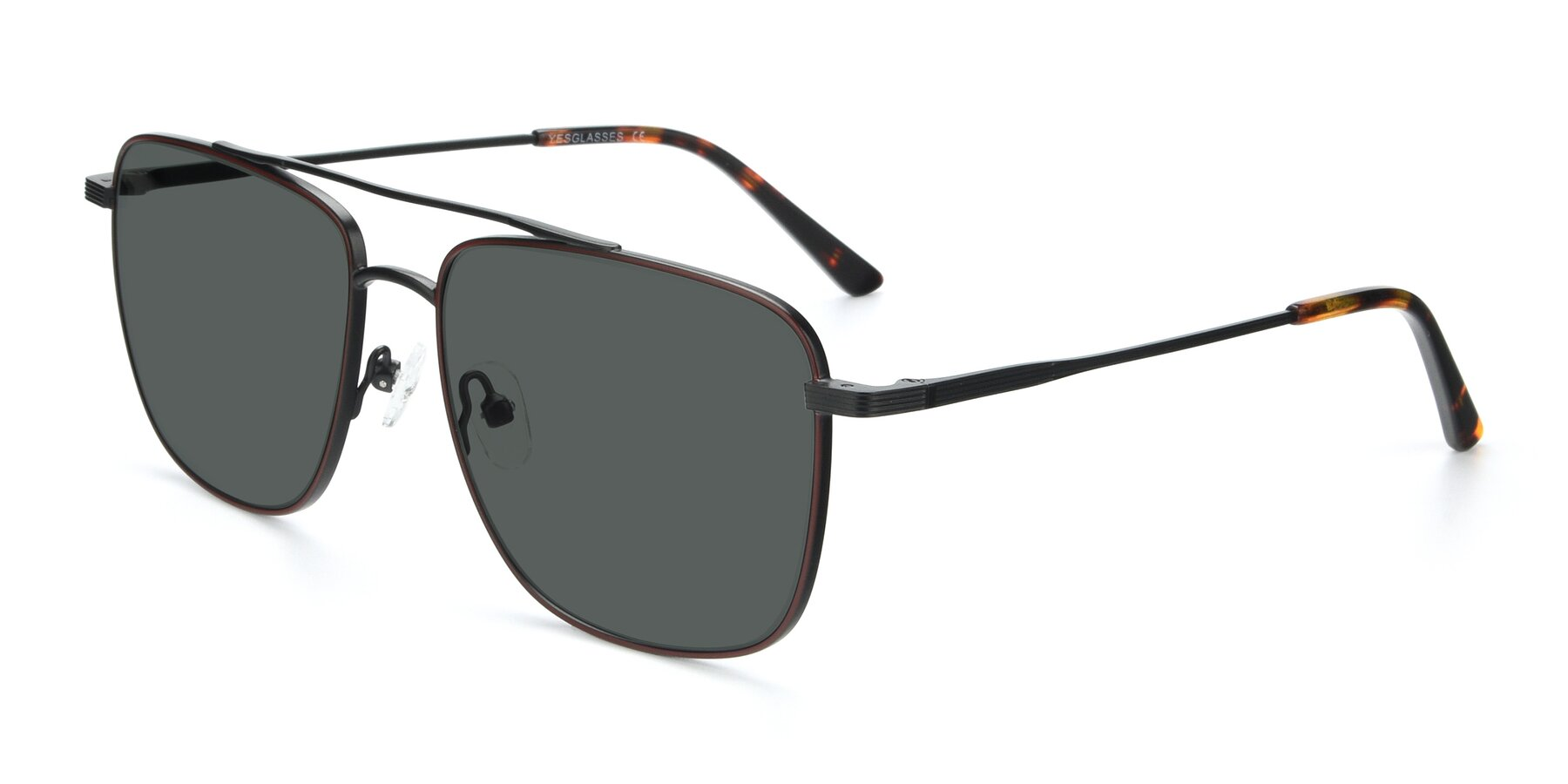 Angle of 9519 in Burgendy-Black with Gray Polarized Lenses