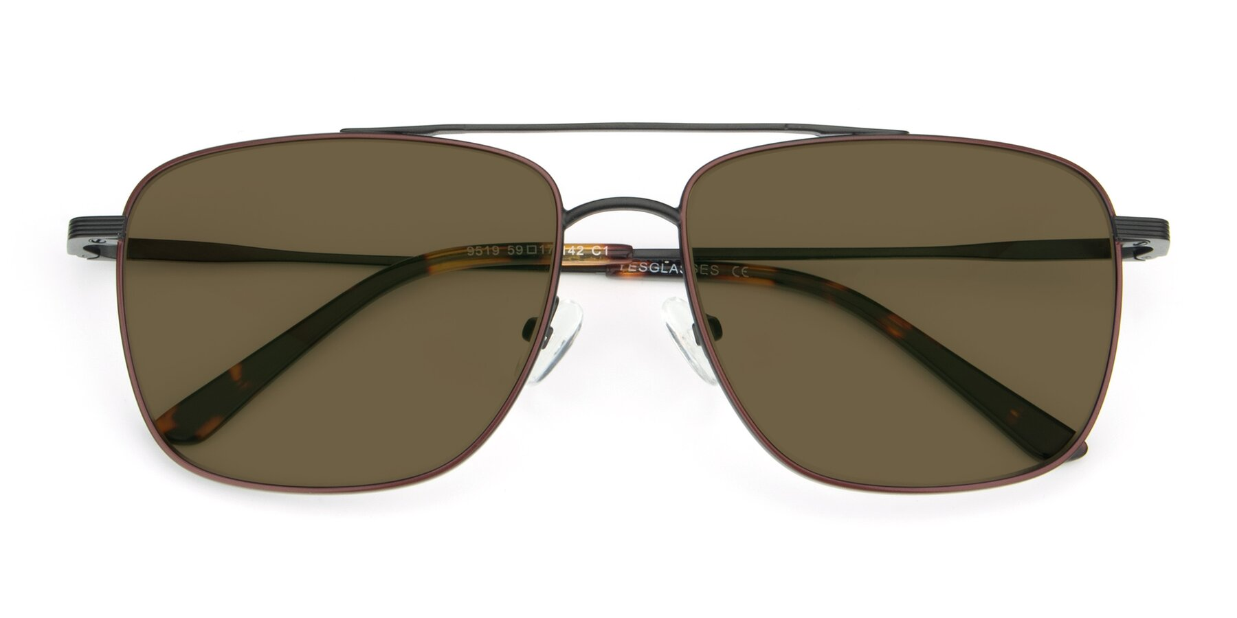 Folded Front of 9519 in Burgendy-Black with Brown Polarized Lenses