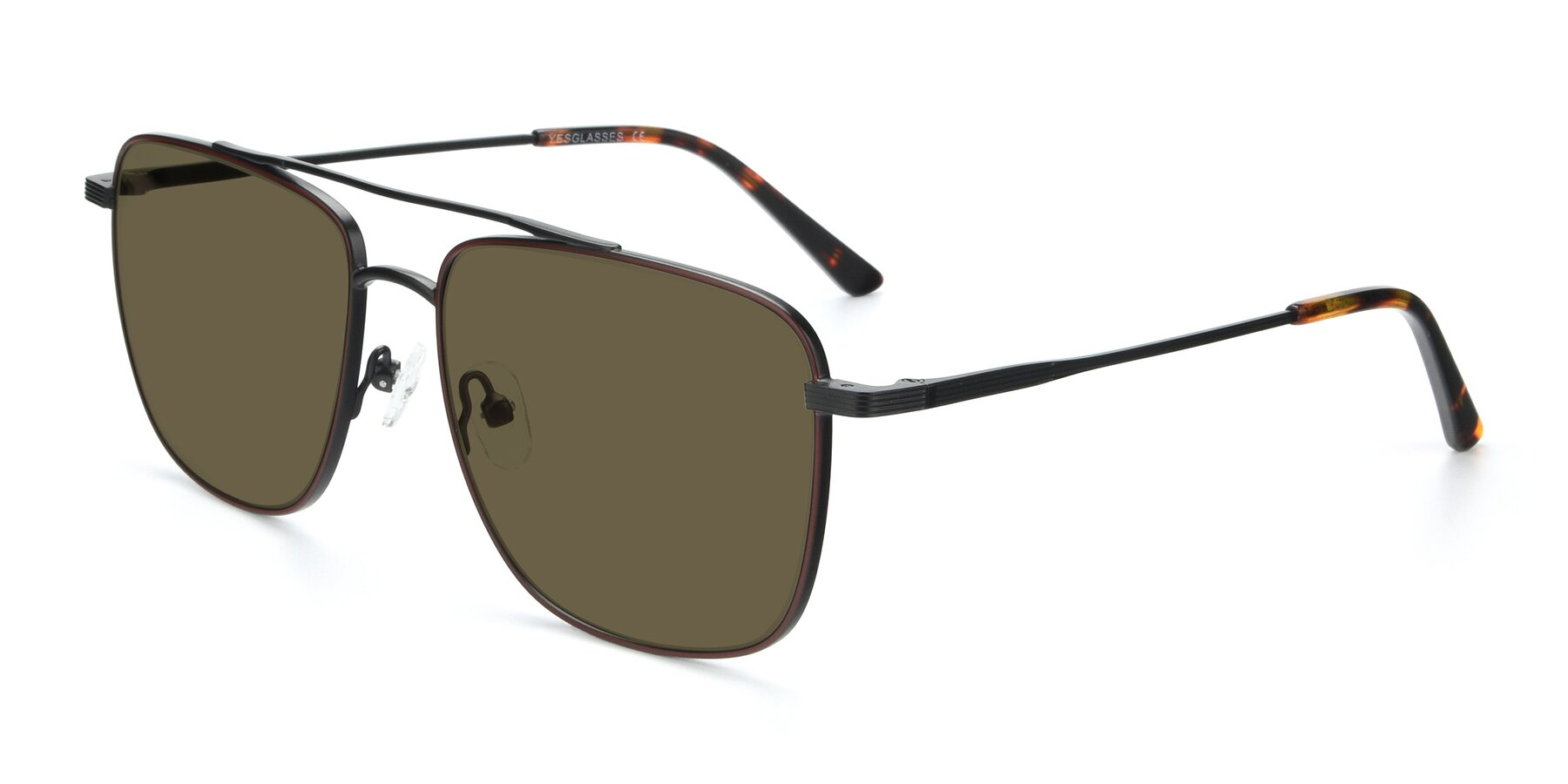 Angle of 9519 in Burgendy-Black with Brown Polarized Lenses