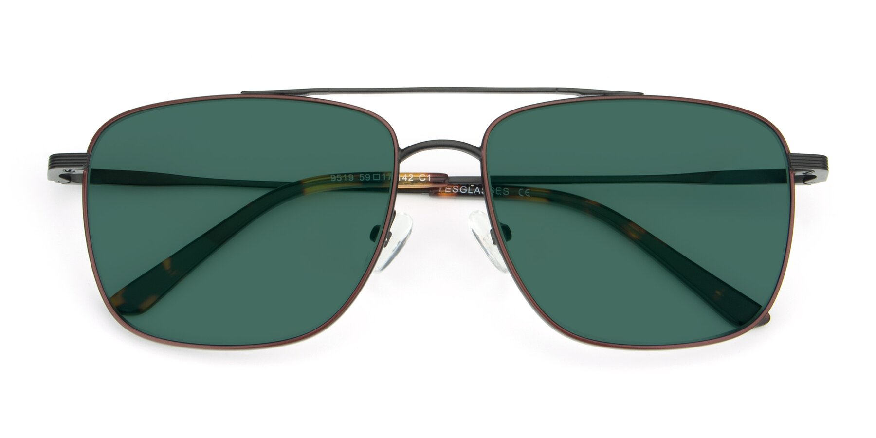 Folded Front of 9519 in Burgendy-Black with Green Polarized Lenses