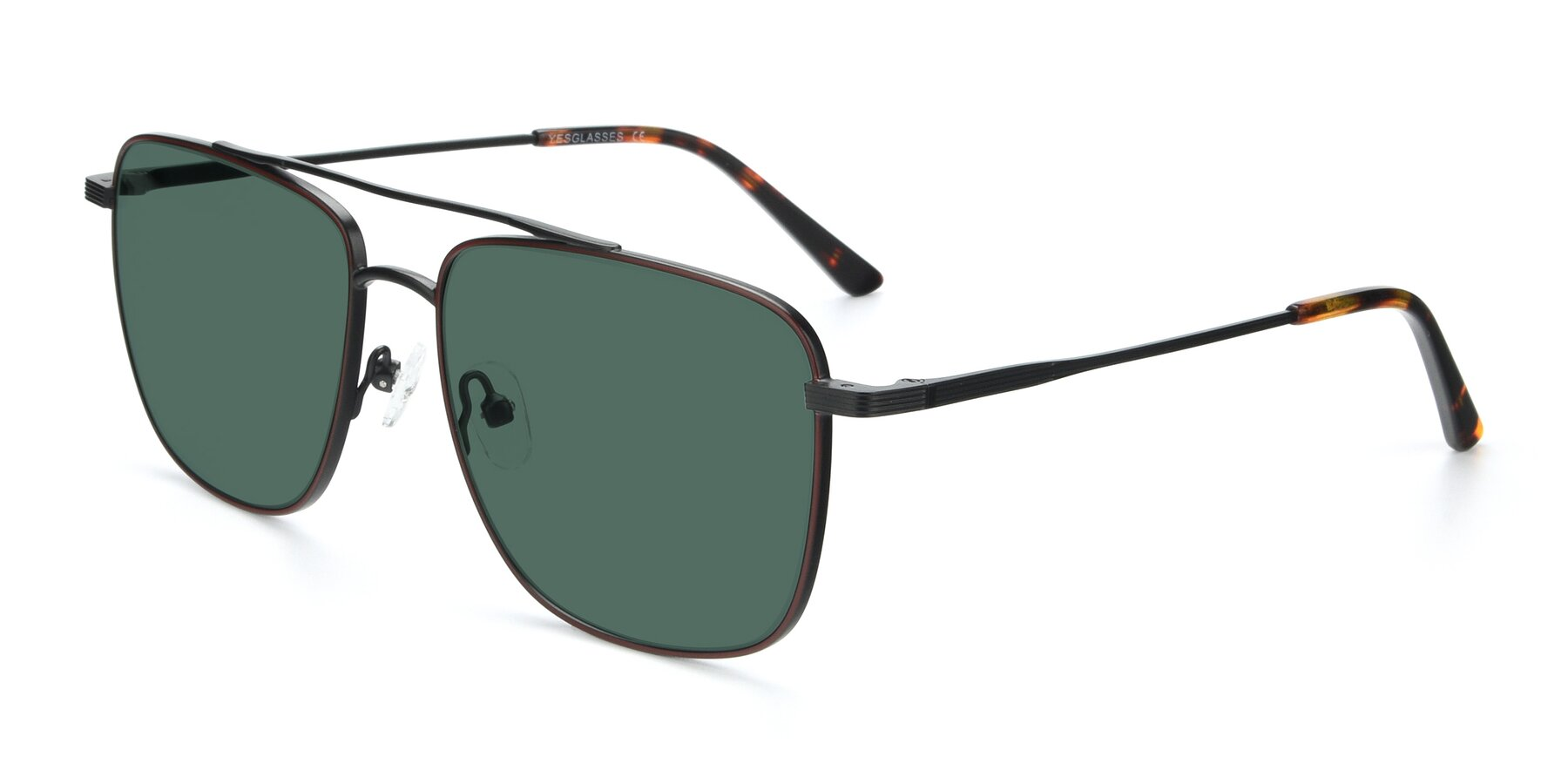 Angle of 9519 in Burgendy-Black with Green Polarized Lenses