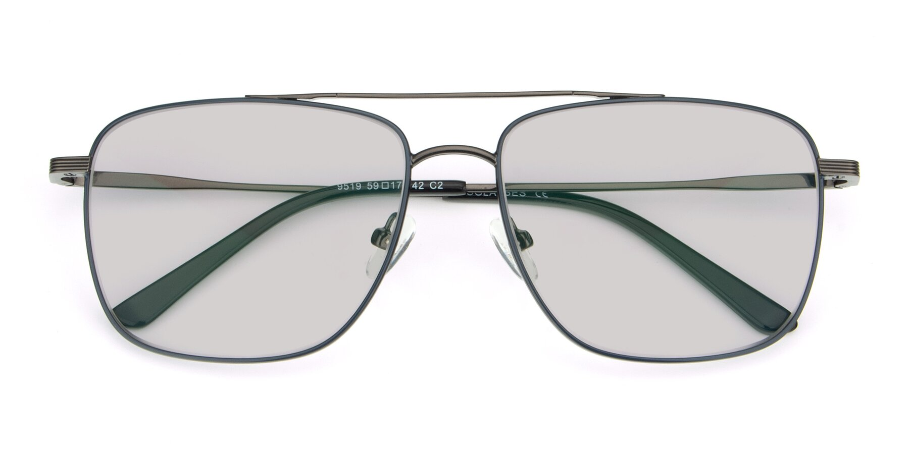 Folded Front of 9519 in Ink Blue-Gun with Light Gray Tinted Lenses