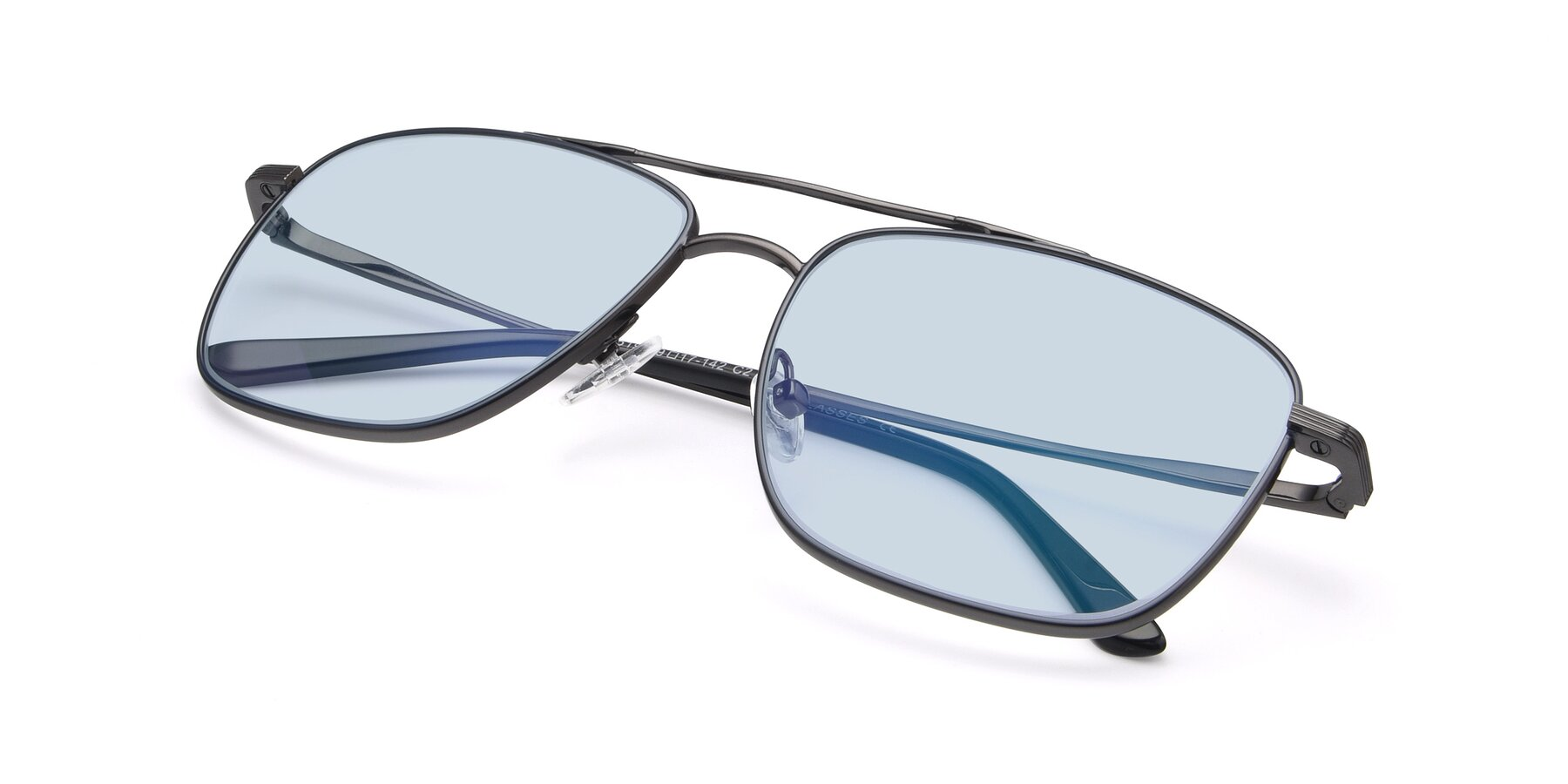 View of 9519 in Ink Blue-Gun with Light Blue Tinted Lenses