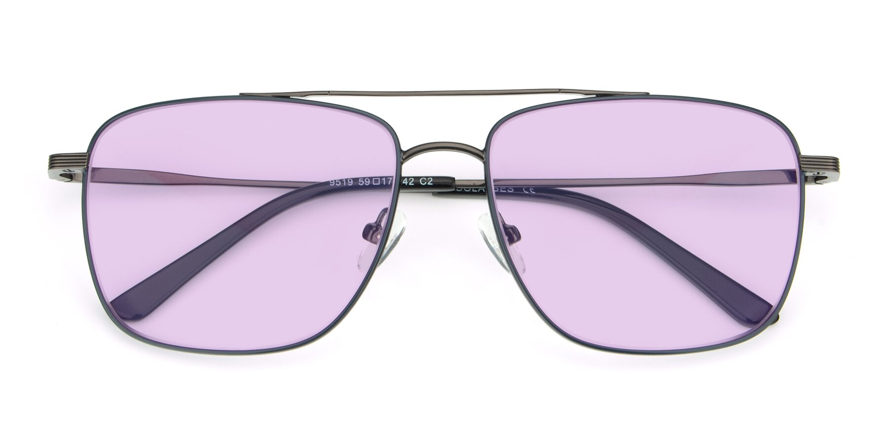 Folded Front of 9519 in Ink Blue-Gun with Light Purple Tinted Lenses