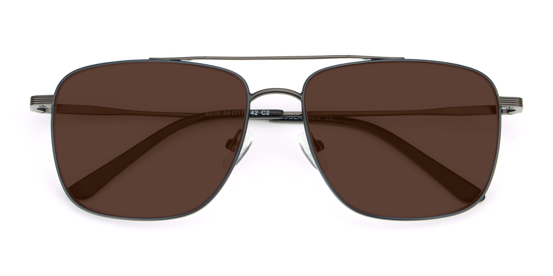 Folded Front of 9519 in Ink Blue-Gun with Brown Tinted Lenses