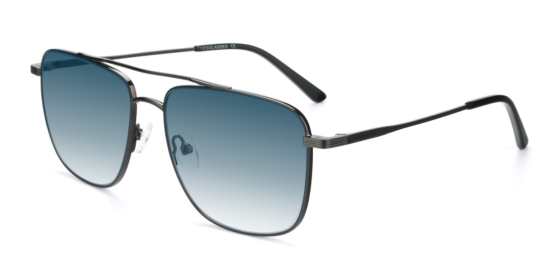 Angle of 9519 in Ink Blue-Gunmetal with Blue Gradient Lenses