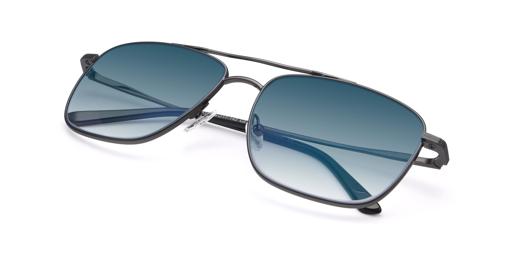 View of 9519 in Ink Blue-Gunmetal with Blue Gradient Lenses
