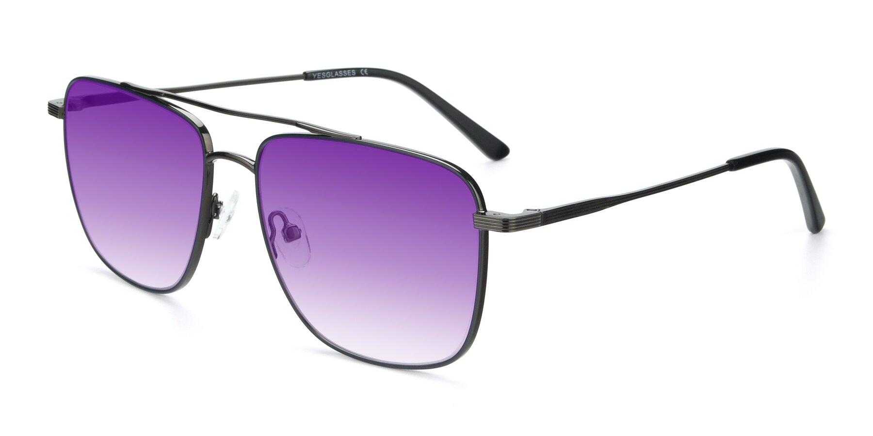 Angle of 9519 in Ink Blue-Gun with Purple Gradient Lenses