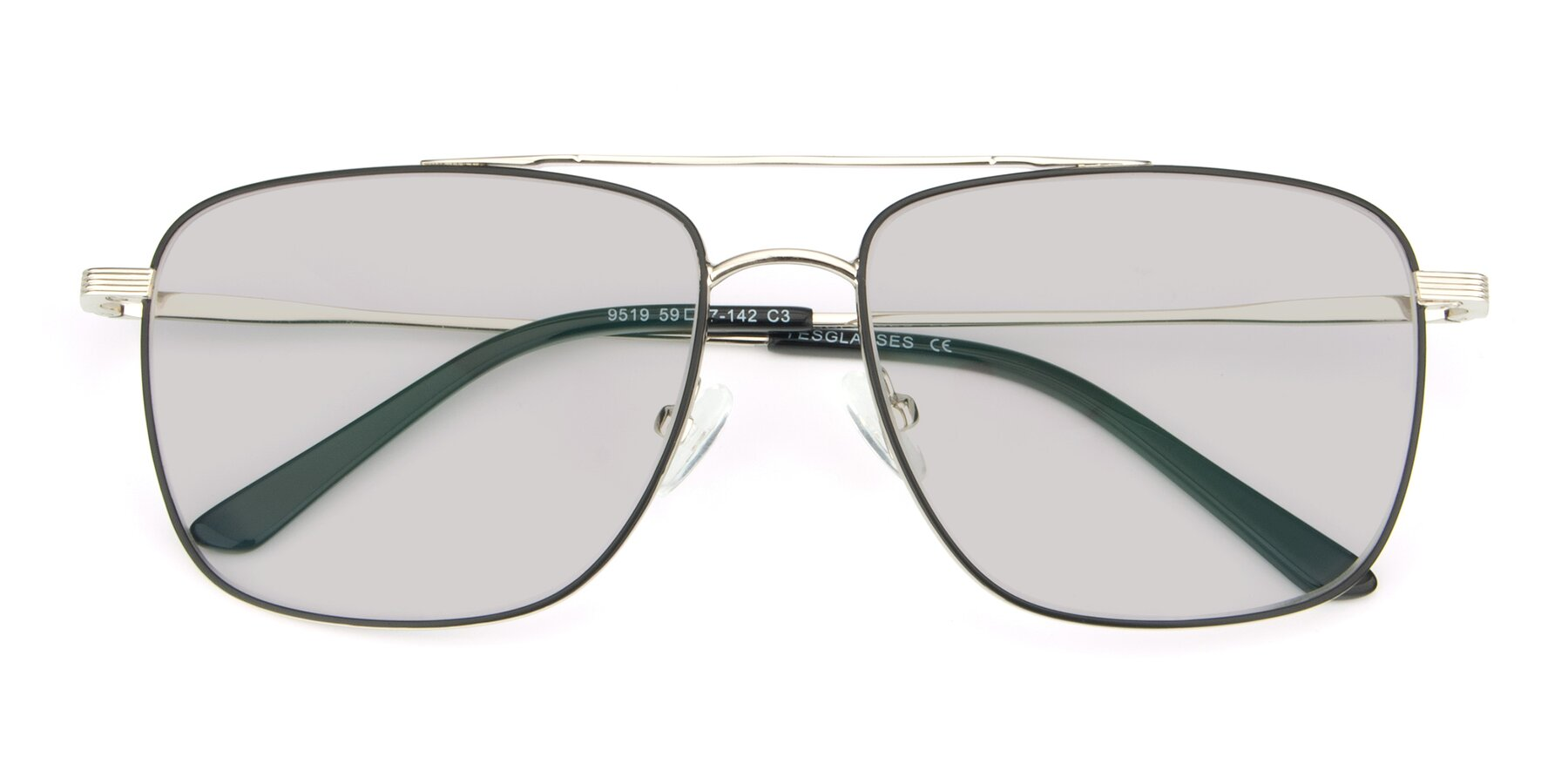 Folded Front of 9519 in Black-Silver with Light Gray Tinted Lenses