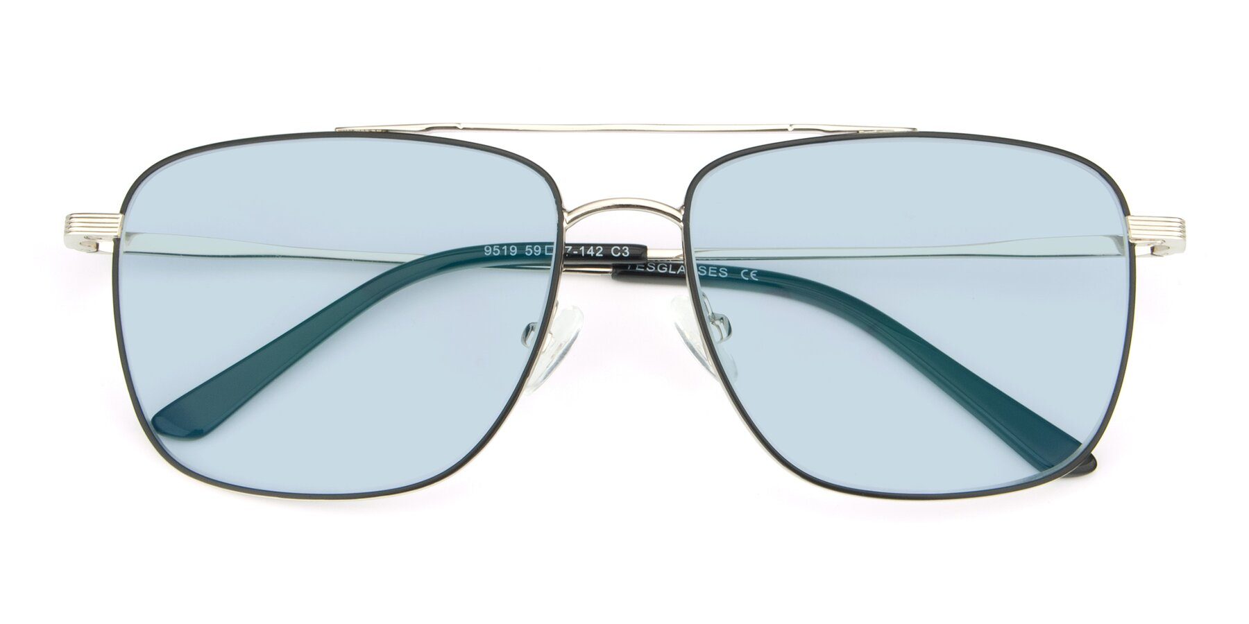 Folded Front of 9519 in Black-Silver with Light Blue Tinted Lenses