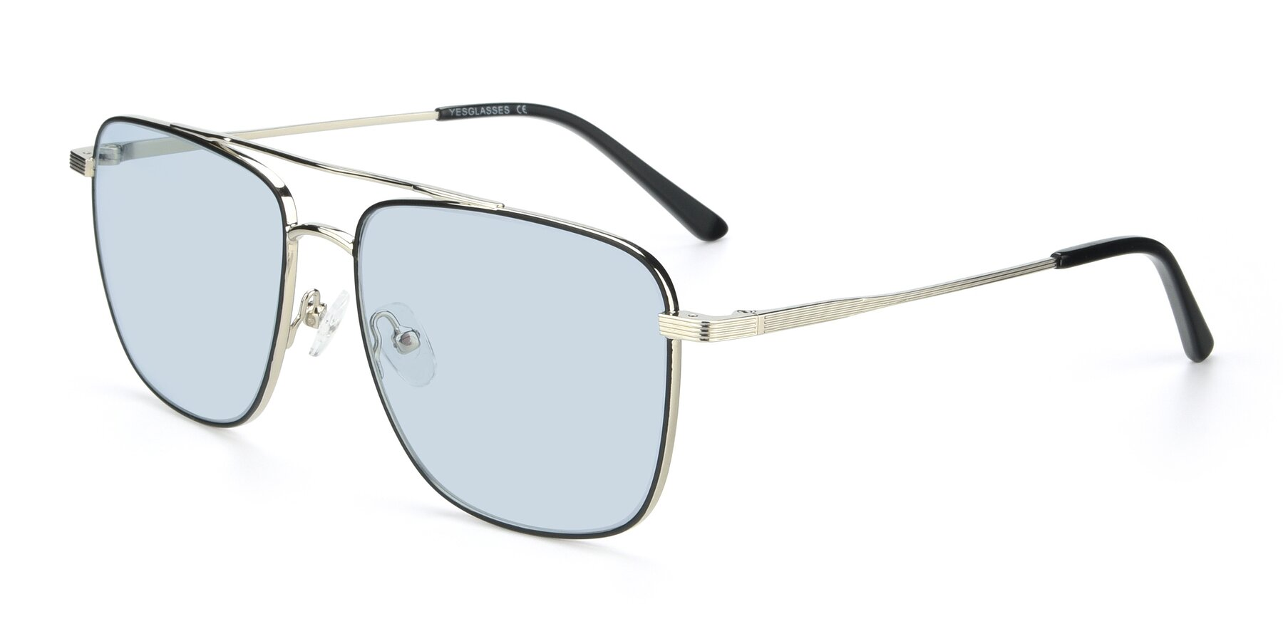 Angle of 9519 in Black-Silver with Light Blue Tinted Lenses