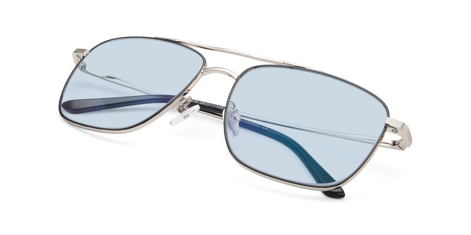 View of 9519 in Black-Silver with Light Blue Tinted Lenses
