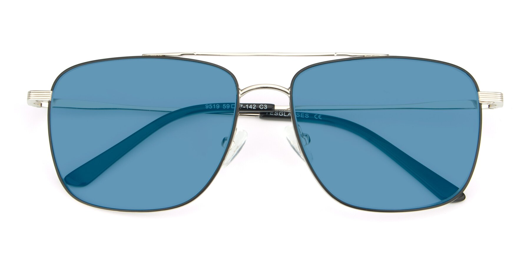 Folded Front of 9519 in Black-Silver with Medium Blue Tinted Lenses