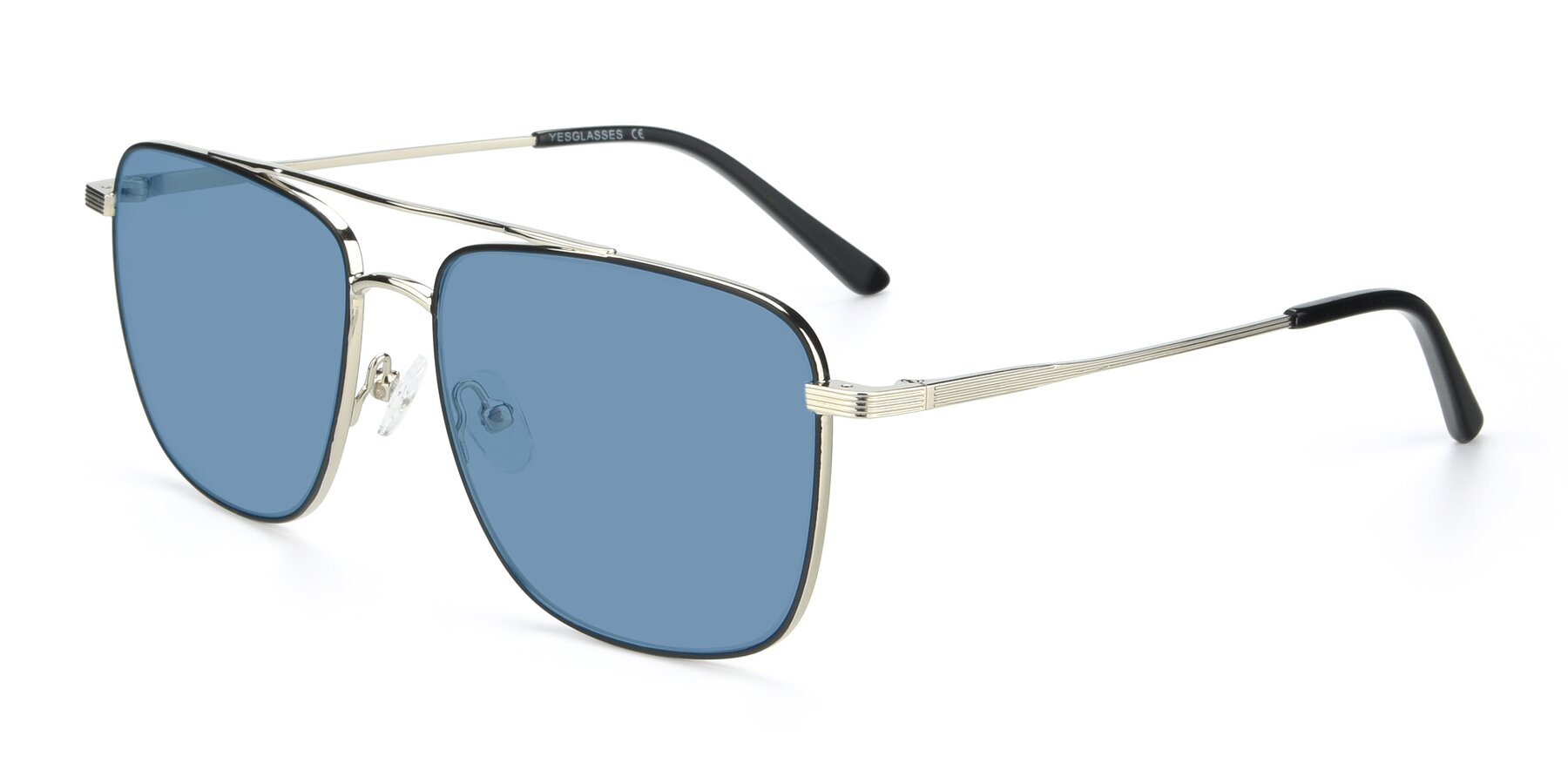 Angle of 9519 in Black-Silver with Medium Blue Tinted Lenses