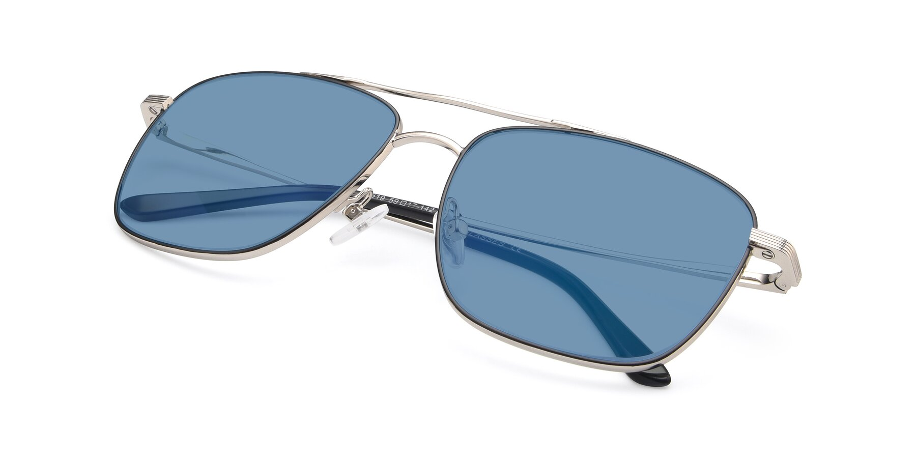 View of 9519 in Black-Silver with Medium Blue Tinted Lenses