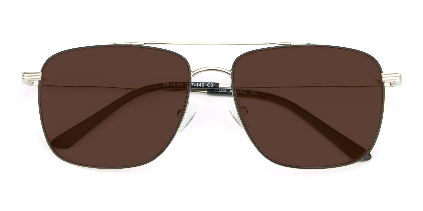Folded Front of 9519 in Black-Silver with Brown Tinted Lenses