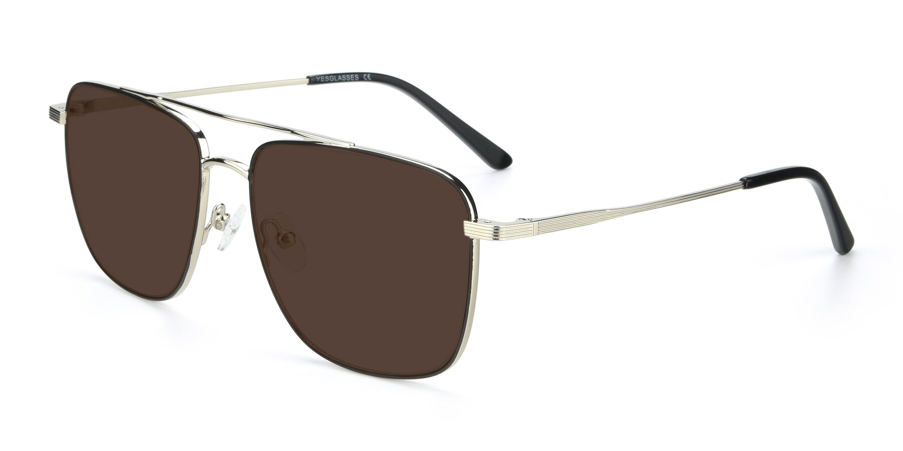 Angle of 9519 in Black-Silver with Brown Tinted Lenses