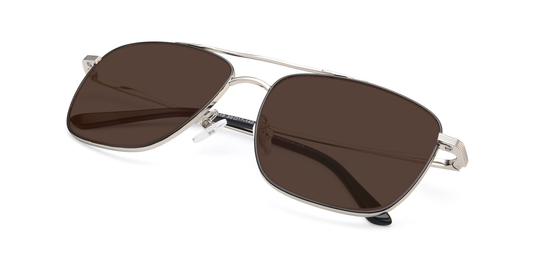 View of 9519 in Black-Silver with Brown Tinted Lenses