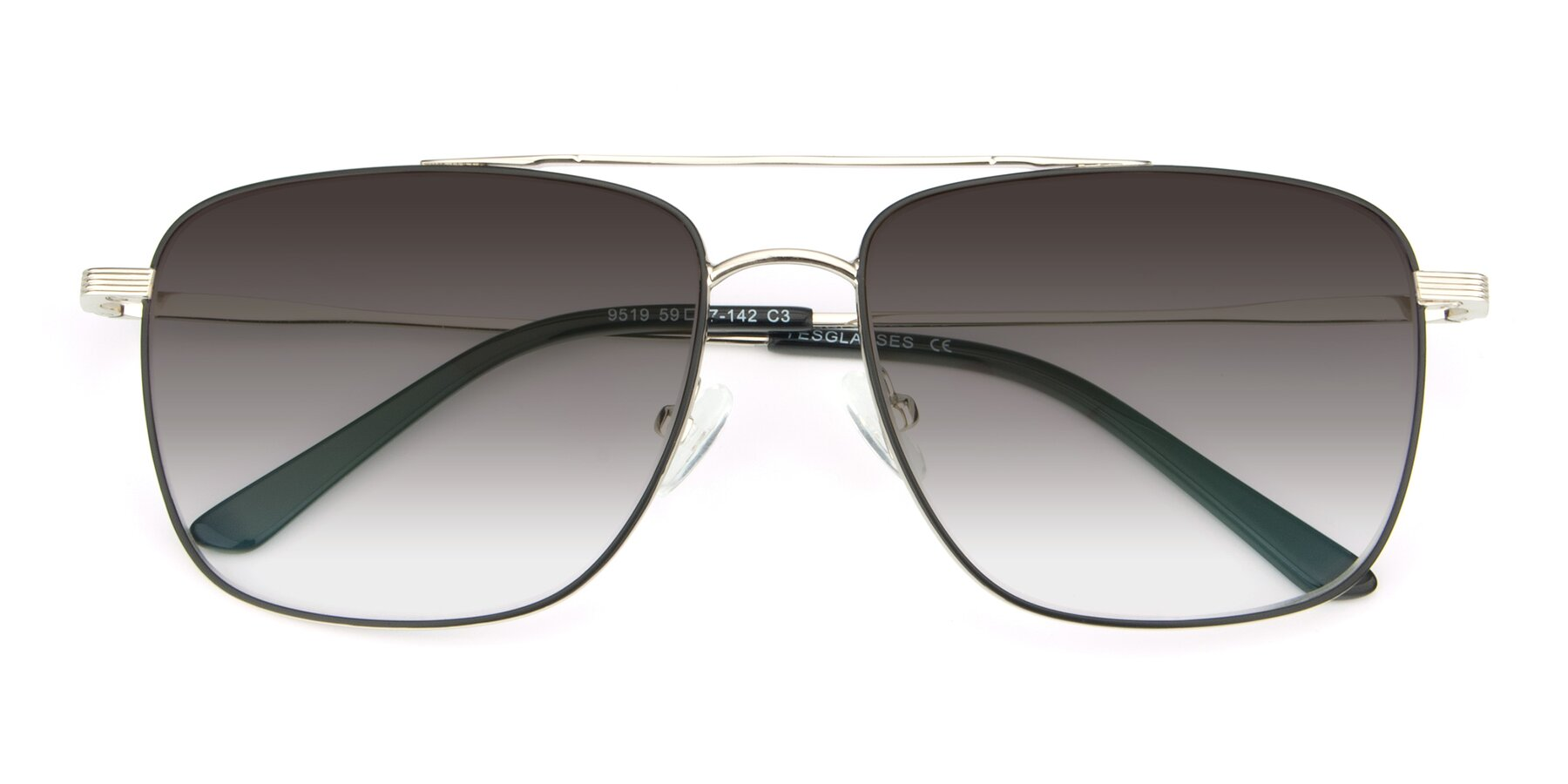 Folded Front of 9519 in Black-Silver with Gray Gradient Lenses
