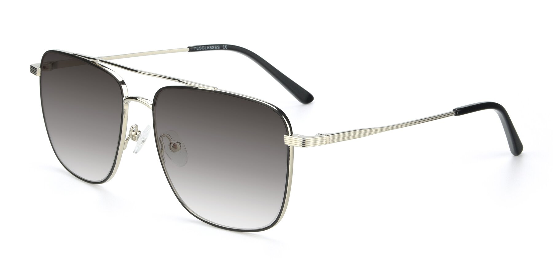 Angle of 9519 in Black-Silver with Gray Gradient Lenses