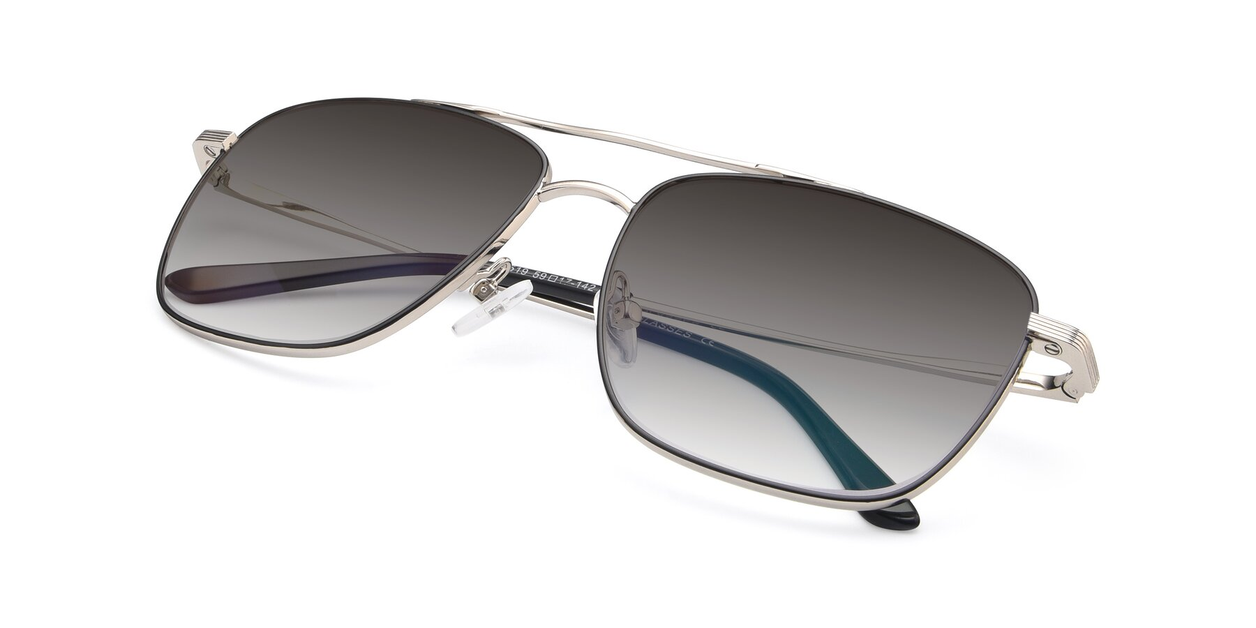 View of 9519 in Black-Silver with Gray Gradient Lenses