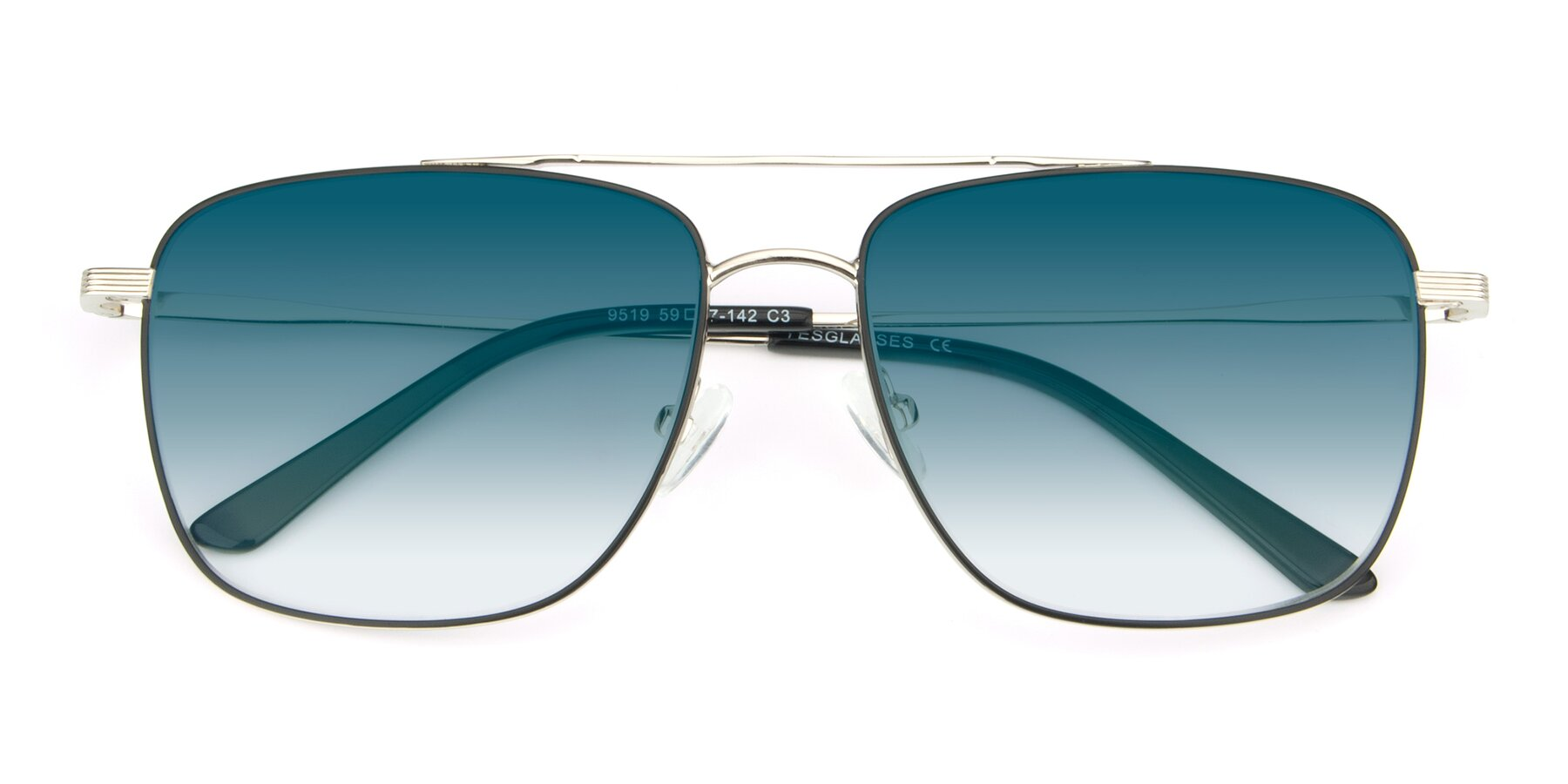 Folded Front of 9519 in Black-Silver with Blue Gradient Lenses