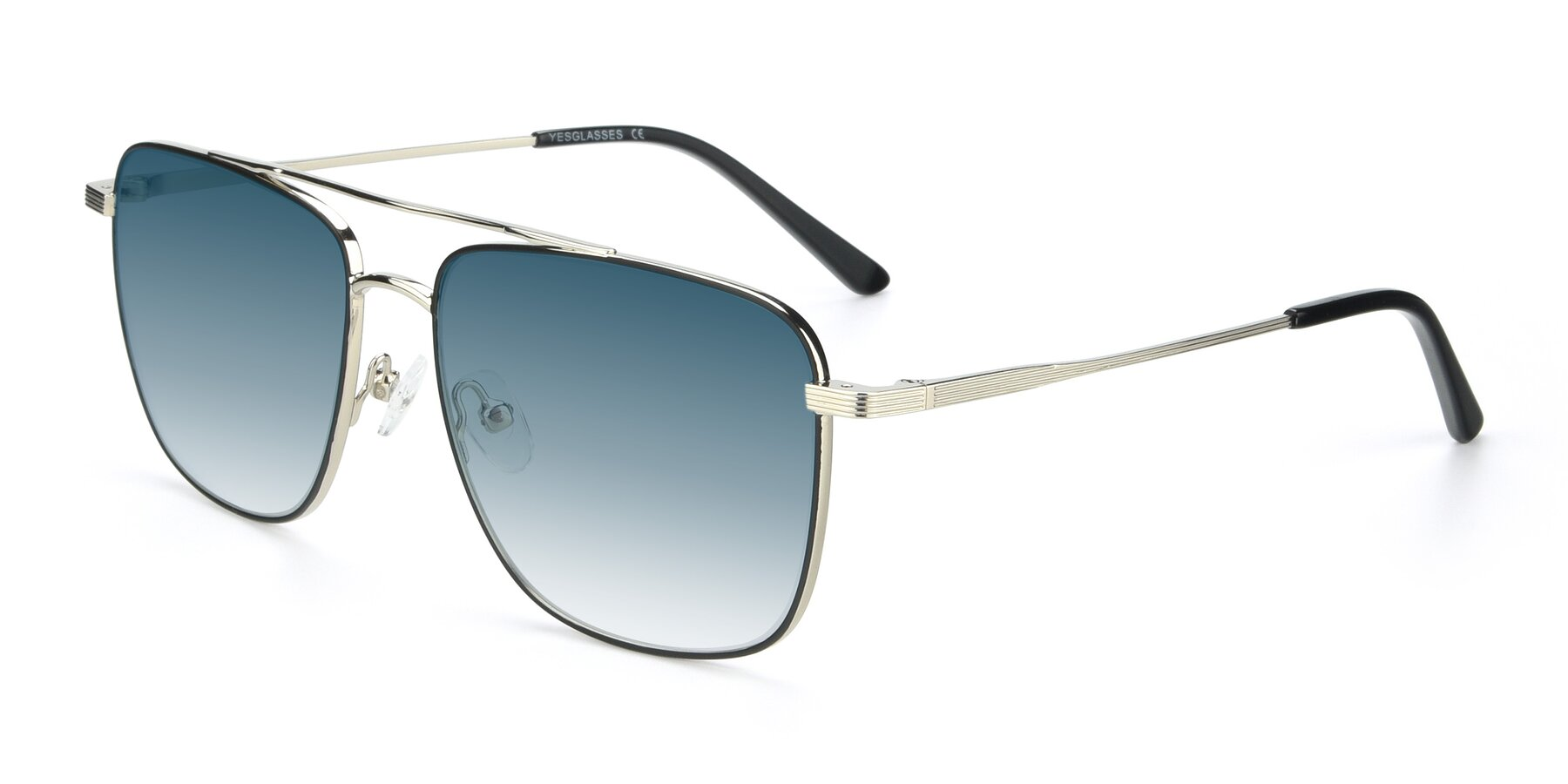 Angle of 9519 in Black-Silver with Blue Gradient Lenses