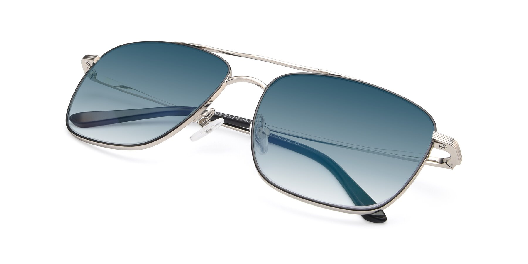 View of 9519 in Black-Silver with Blue Gradient Lenses
